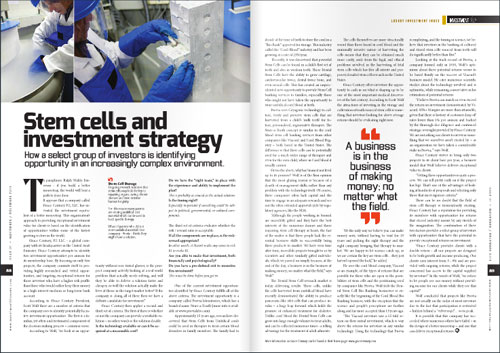 Article on investing in stem cell storage
